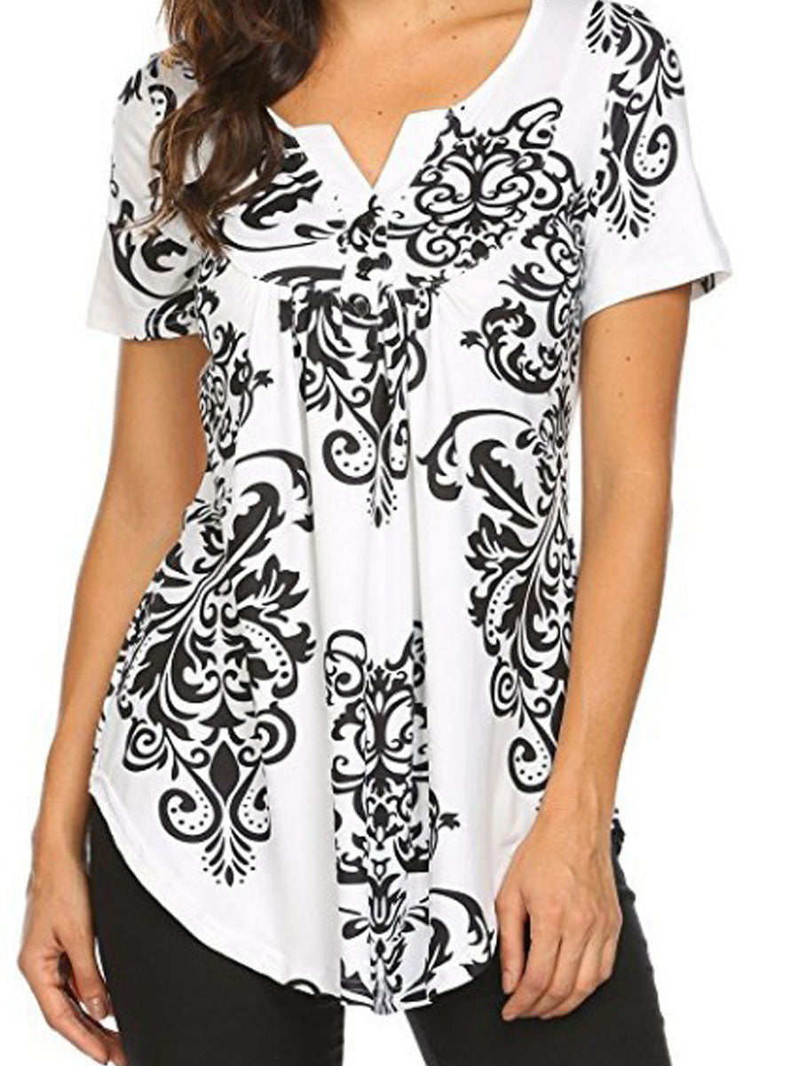 Summer  Cotton  Women  V-Neck  Asymmetric Hem  Decorative Button  Floral Printed Short Sleeve T-Shirts