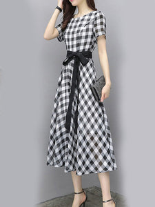 Round Neck  Belt  Checkered Maxi Dress