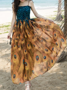 Spaghetti Strap  Animal Printed Maxi Dress