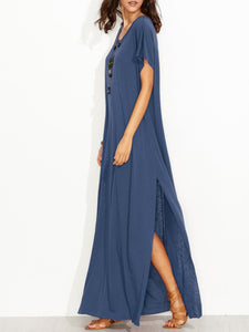 Round Neck  Slit  Plain Maxi Dress