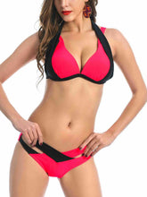Color Block Plain  Low-Rise Bikini Set