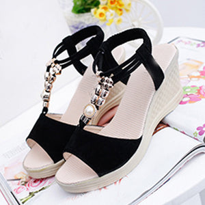 Plain  High Heeled  Velvet  Ankle Strap  Peep Toe  Date Office Wedge Sandals