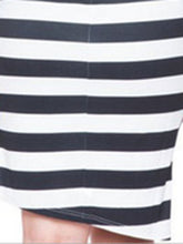 Deep V-Neck  Inverted Pleat  Striped Plus Size Bodycon Dress