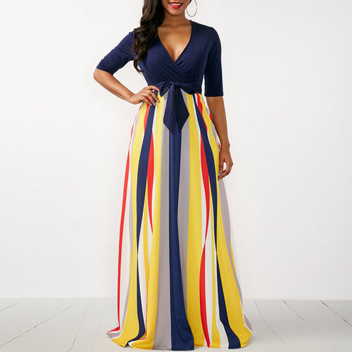 V Neck Half Sleeve Printed Woman Maxi Dress
