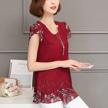 Printed Two Colors Short Sleeve Round Neck Woman Blouse