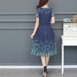 Elegant Printed Large Size Woman Skater Dress