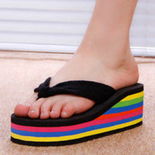 Striped  High Heeled  Cotton  Peep Toe  Casual Slippers