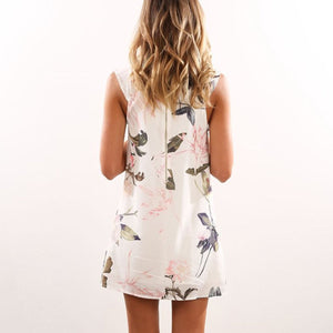 Chiffon Floral Tank Sleeveless A-Line Shift Dress