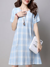 Round Neck  Plaid Skater Dress