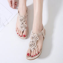 SOCOFY Floral Plain  Flat  T Strap  Peep Toe  Date Outdoor Flat Sandals