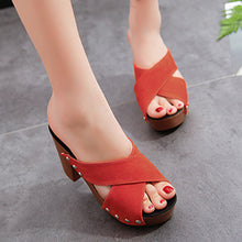Plain  Chunky  High Heeled  Velvet  Peep Toe  Date Outdoor Platform Sandals