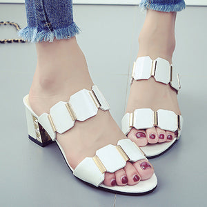 Plain  Chunky  High Heeled  Peep Toe  Date Sandals