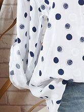 Spring Summer  Polyester  Women  V-Neck  Polka Dot  Long Sleeve Blouses