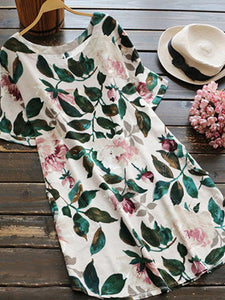 Round Neck  Floral Printed Shift Dress