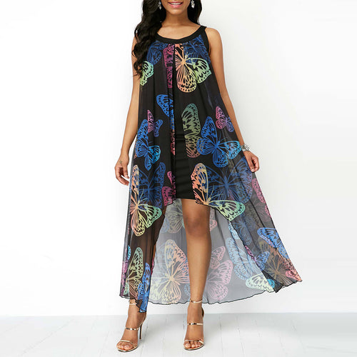 Summer Chiffon Black Overlay Butterfly Print Sleeveless Shift Dress