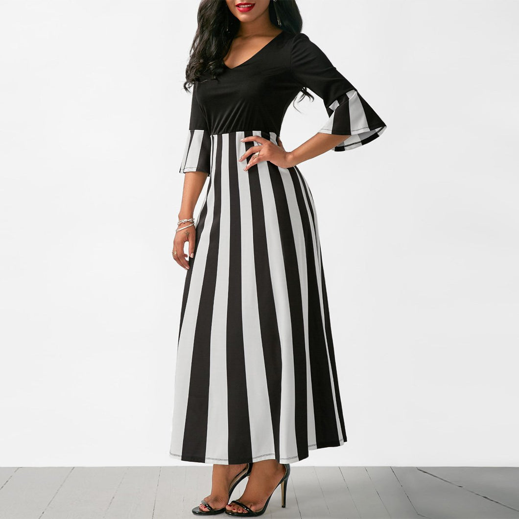 Print V Neck Three-Quarter Sleeve Sleeve Maxi Dress