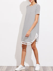 Round Neck  Fringe  Printed Shift Dress
