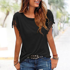 Casual Round Collar Pure Color Tassel Shirt
