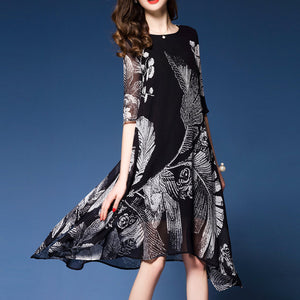 Silk Printed Woman Fashion Black Shit Dress