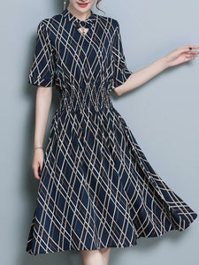 Crew Neck  Elastic Waist  Print Maxi Dress
