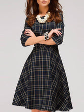 Round Neck  Checkered Skater Dress
