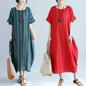 Summer Cotton And Linen Loose Printed Maxi Dress