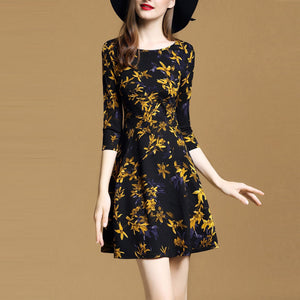 Elegant Printed Woman Skater Dress