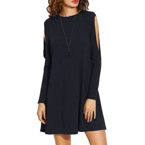 Simple Plain Pure Woman Shift Long Sleeve Dress