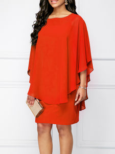 Round Neck  Plain  Batwing Sleeve Bodycon Dress
