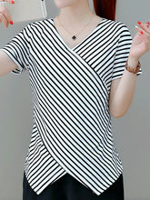 V Neck  Asymmetric Hem  Stripes Short Sleeve T-Shirts