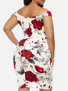 Off Shoulder  Ruffled Hem  Floral Plus Size Bodycon Dress