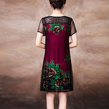 Woman Pattern Round Neck Shor Sleeve Shift Dress