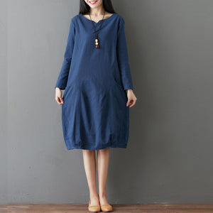 Loose Large Size Long Sleeve Pure Maxi Dress