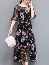 Round Neck  Drawstring  Floral Printed  Bell Sleeve Maxi Dress