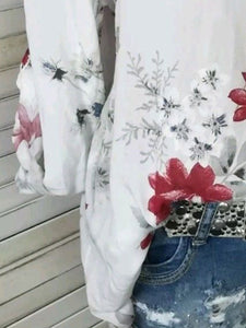 Autumn Spring Summer  Cotton  Women  V-Neck  Patch Pocket  Decorative Button  Floral Printed Blouses