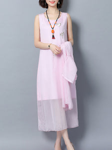 Round Neck  Asymmetric Hem  Embroidery Two-Piece Maxi Dress
