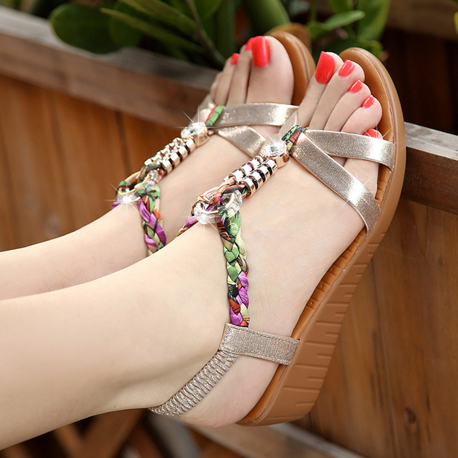 SOCOFY Bohemian  High Heeled  Ankle Strap  Peep Toe  Casual Outdoor Wedge Sandals