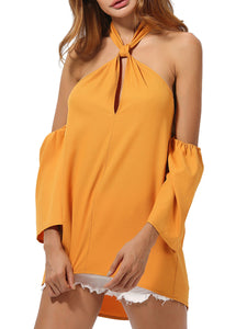 Spring Summer  Polyester  Women  Halter  Backless  Plain  Long Sleeve Blouses