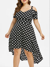 Open Shoulder  Asymmetric Hem  Polka Dot Plus Size Midi & Maxi Dress