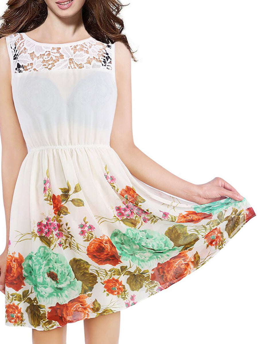 Round Neck  Patchwork  Printed Skater Dress