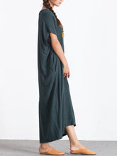 Round Neck  Decorative Button  Plain Maxi Dress