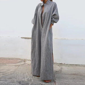 Women Casual Dress Plunging Neck Swing Daily Balloon Sleeve Maxi Dresses