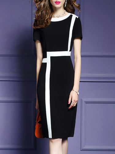 Round Neck  Color Block Bodycon Dresses