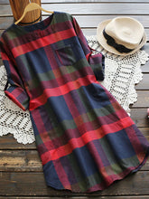 Round Neck  Patch Pocket  Color Block  Roll Up Sleeve Shift Dress