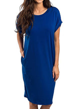 Plain Round Neck  Shift Dress