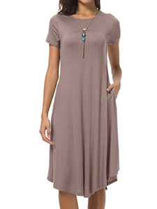 Round Neck  Asymmetric Hem Plain Woman Shift Dress