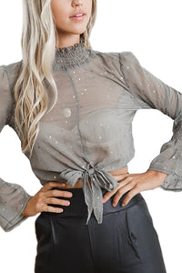 Crew Neck  Belt Loops  Print  Blouses