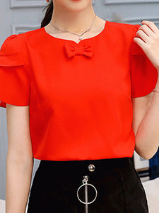 Round Neck  Bow  Plain Print Short Sleeve T-Shirts