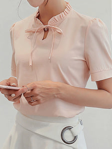 Band Collar  Bowknot  Patchwork Plain Blouses