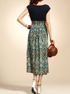 Round Neck  Elastic Waist Patchwork  Printed Maxi Dress